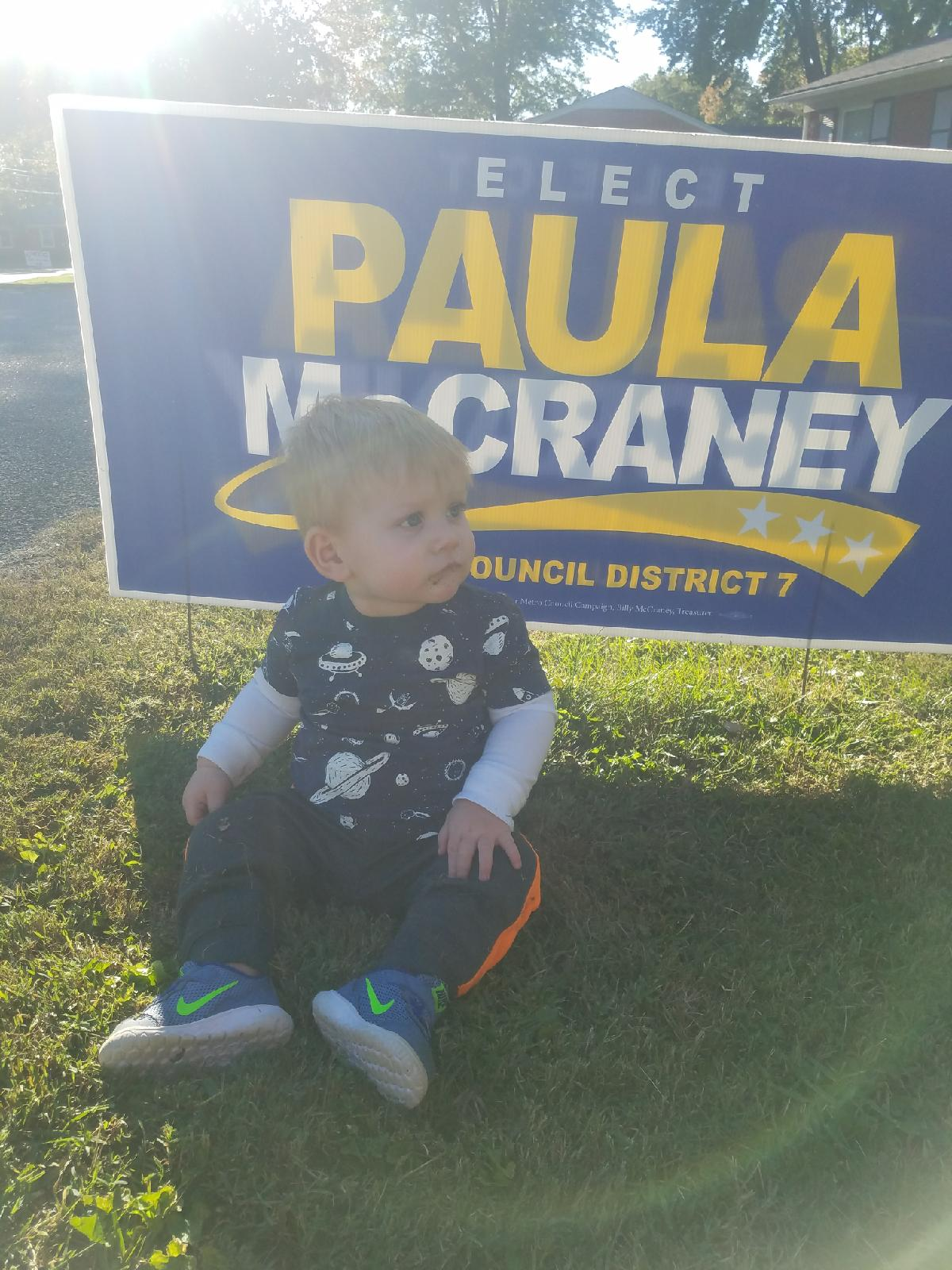 Yard Sign and Baby